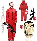 TK Gruppe Timo Klingler Kostüm Set wie Haus des Geldes - mit Dali Salvador Maske, aufblasbares Gewehr, roter Overallanzug für Fasching & Halloween (1x)