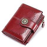 BAIGIO Geldbörse Damen Leder RFID Geldbeutel Frauen Klein Portemonnaie mit 15 Kartenfächer und Münzfach (Rot)